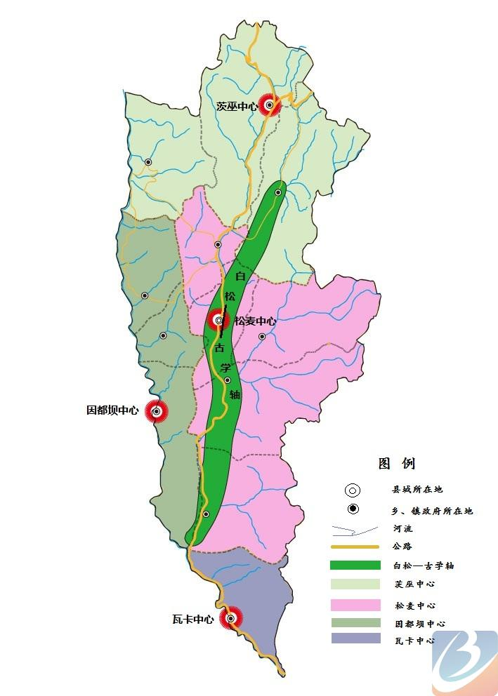 得荣县十二五规划空间发展总体布局